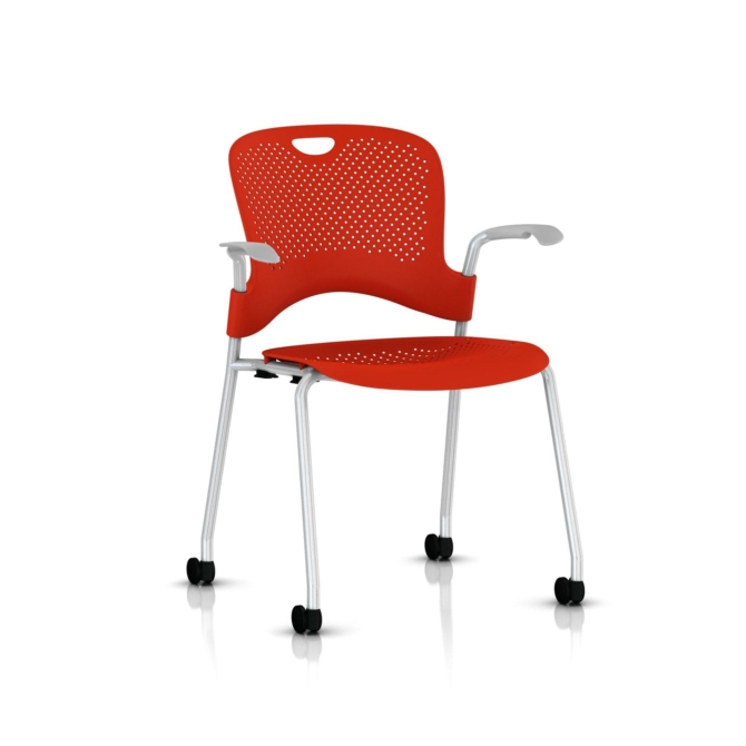 Caper Stacker metallic silver red fixed arms