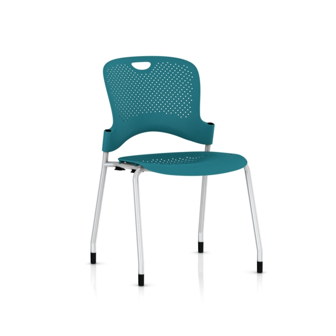 herman miller Caper Stacker metallic silver turquoise no arms