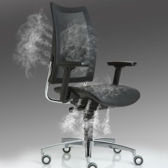 Cadeira para secretaria Luxy Overtime smoke