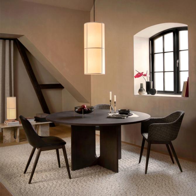MENU Androgyne Dining Table Hashira Pendant Gravel Rug Androgyne Lounge Table